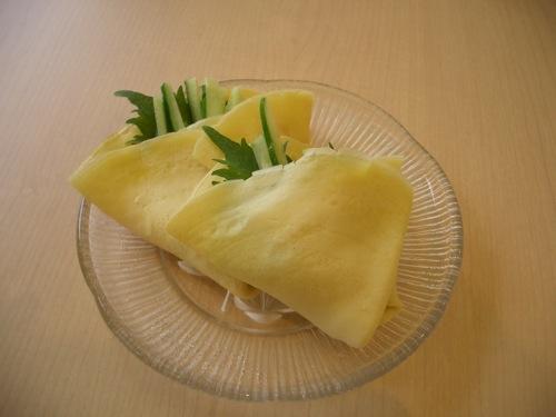 春野菜のはとむぎ入りクレープ包み 2009年3月薬膳料理