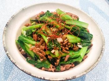 小松菜と豚ひき肉のそぼろ丼
