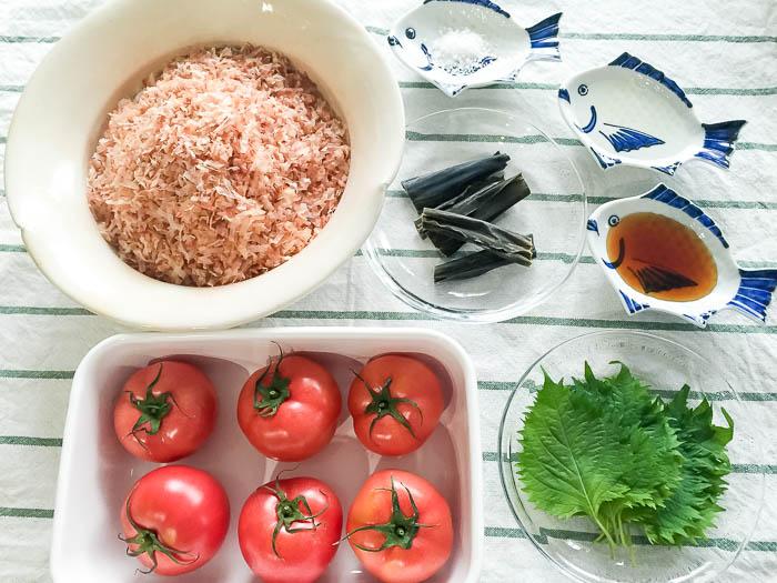 トマトのだし煮の材料