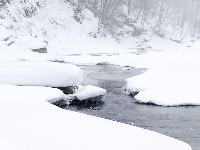 吹雪の豊平川河岸の様子
