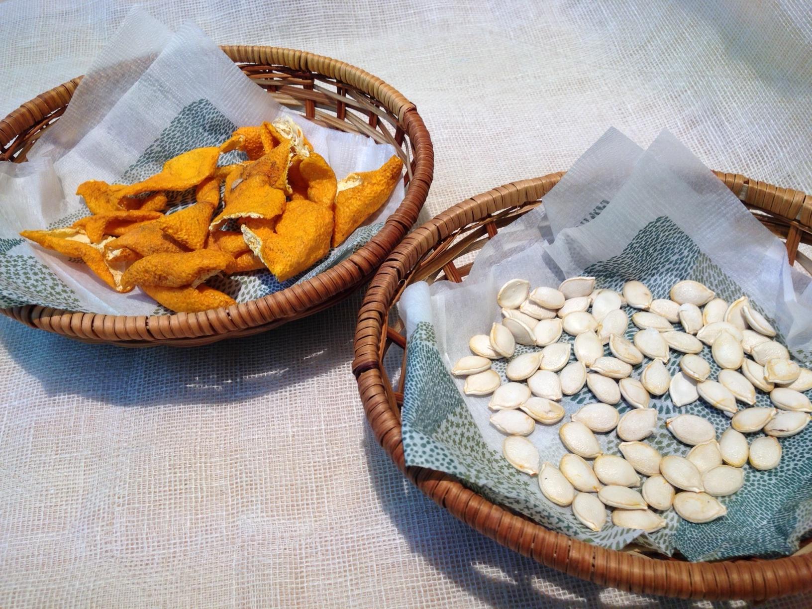 みかんの皮とかぼちゃの種
